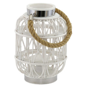 White cane lantern with rope handles.