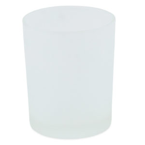 Straight frosted glass tealight votive. 7cm high.