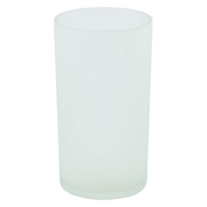 Round frosted glass tealight votive. 10cm high.