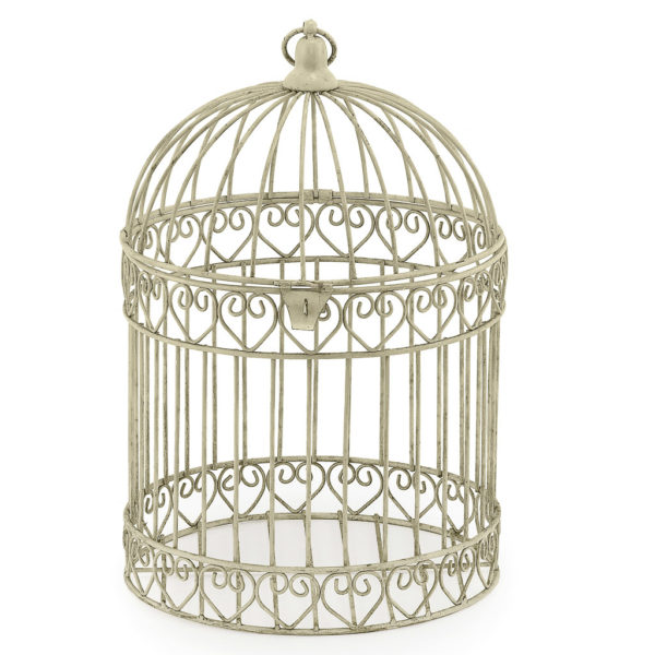 Ivory bird cage style table centrepiece.