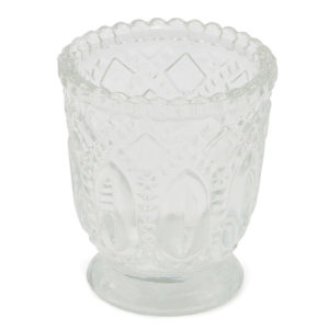 Clear heirloom votives.