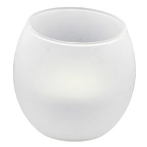 Round frosted votive tealight.