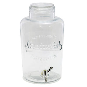 Large clear glass drink dispenser.