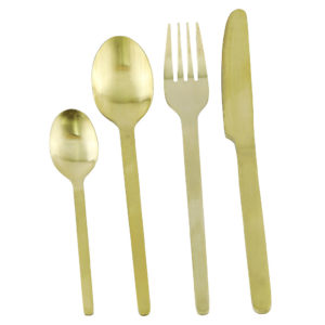 Gold cutlery set with slim handles. Tablespoon, fork, knife and teaspoon. 20 sets of 4 in stock. Total of 80 items.