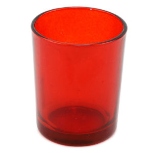 Red tealight votive.