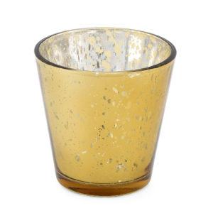 Speckled gold tealight votive.