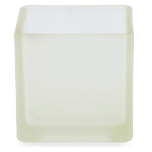 Square frosted glass tealight votive. 5cm high.