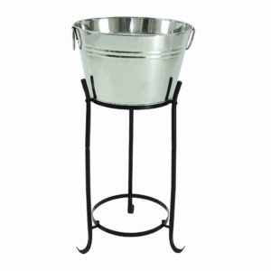 Silver ice buckets with silver handles and a smooth finish. Used with matching black stands for ice buckets at arm's length. 
