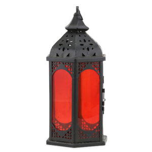 Black iron with red glass Moroccan lantern.