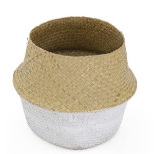 Seagrass basket - natural and white.