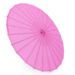 Bright Japanese paper parasols. 84cm diametre when opened. Handle to tip 59cm.