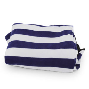 Blue and white roll up picnic rug.