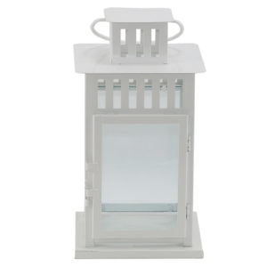 Modern white lantern used for table centrepiece or event styling. Effective with candle included.