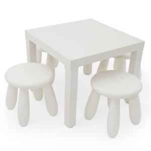 Children's plastic white stool.