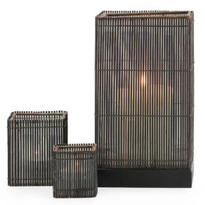 Dark cane candle holders make a dramatic, rustic centrepeice. Set of three. 20cm high, 9cm high and 6cm high.
