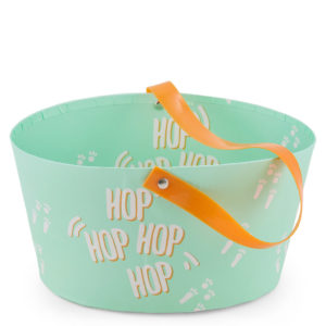 """Easter egg baskets with handle. Mint green with """"Hop Hop Hop Hop"""" written on it."""