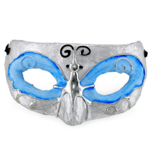 Blue and silver butterfly mask.