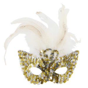 Gold and silver sequined mask.