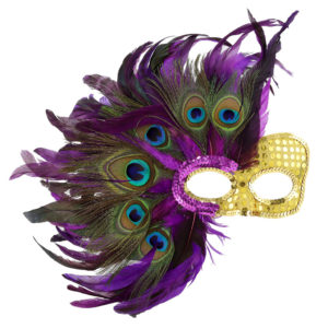 Gold and purple mask with peacock feathers.