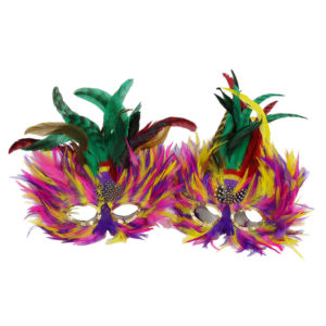 Colourful feather masks. Double-sided. Can be used as table centrepieces.