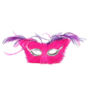 Purple and pink feather masks. Double-sided. Can be used as table centrepieces.