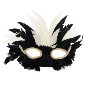 Black and white feather masks with cream eye detail.