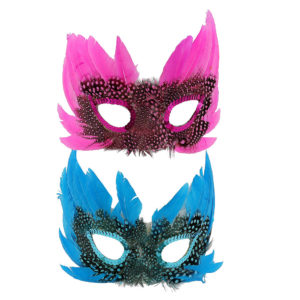 Black, green, pink and blue feather masks. One of each colour.