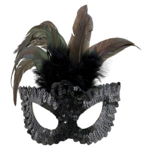 Black sequined feather masks.