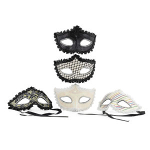 Cream, black, gold, silver - various masks.