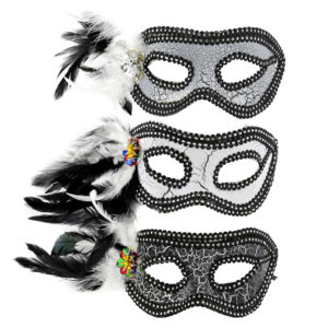 Various black and white masks with feather detail.