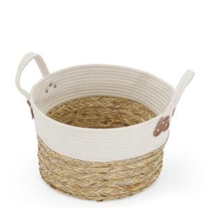 Rattan basket - natural and white.