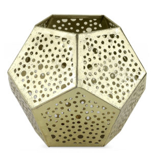 Decorative gold tealight holder. Hexagon shape with circle cut out design.