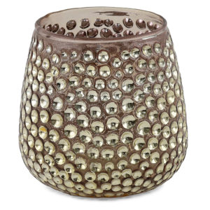 Gold sparkle glass tealight holder.