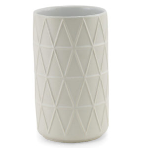 Tall white ceramic embossed canister.
