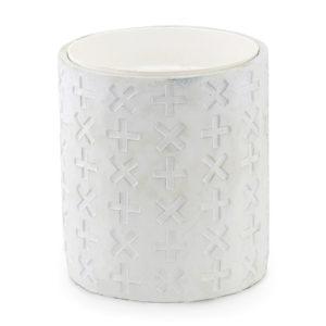 White Textured pot plant holder. Medium. 20cm high.