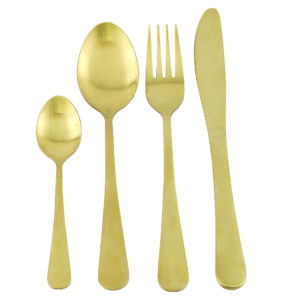Gold cutlery set with round handles. Tablespoon, fork, knife and teaspoon. 