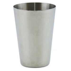 Stainless steel drinking cup.