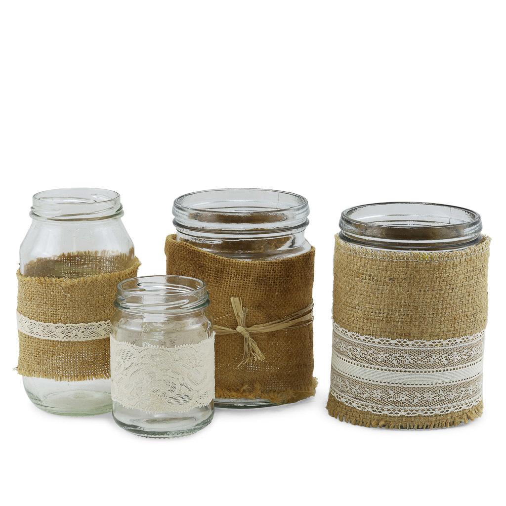 Assorted glass jars.