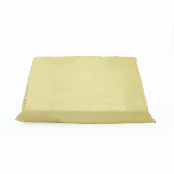 Gold satin cushion.