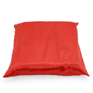 Red satin cushion.