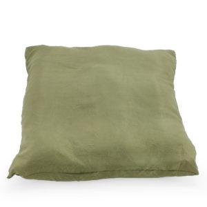 Grey satin cushion.