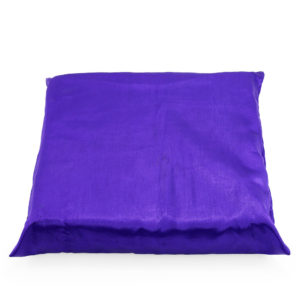Purple satin cushion.