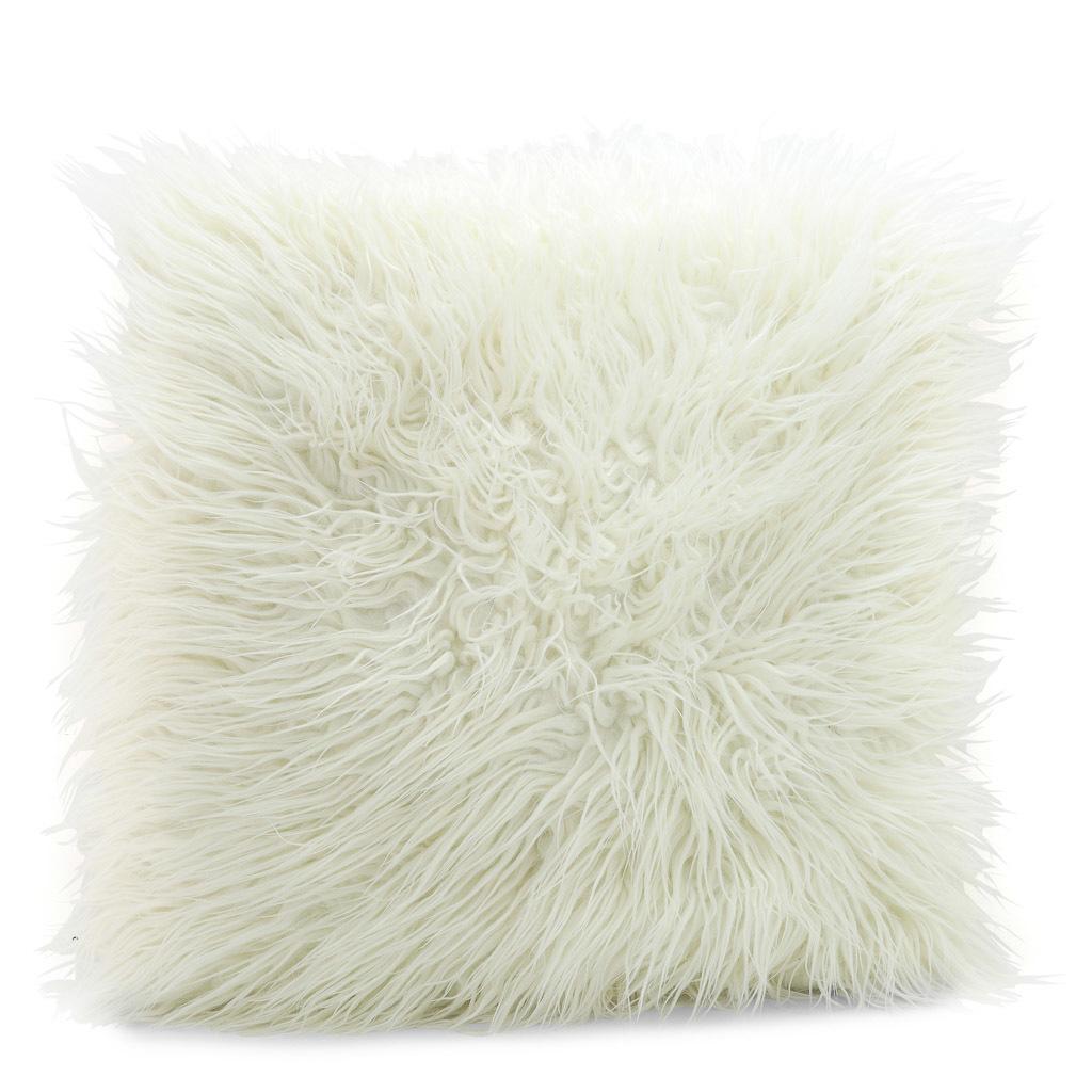 White fur cushion.