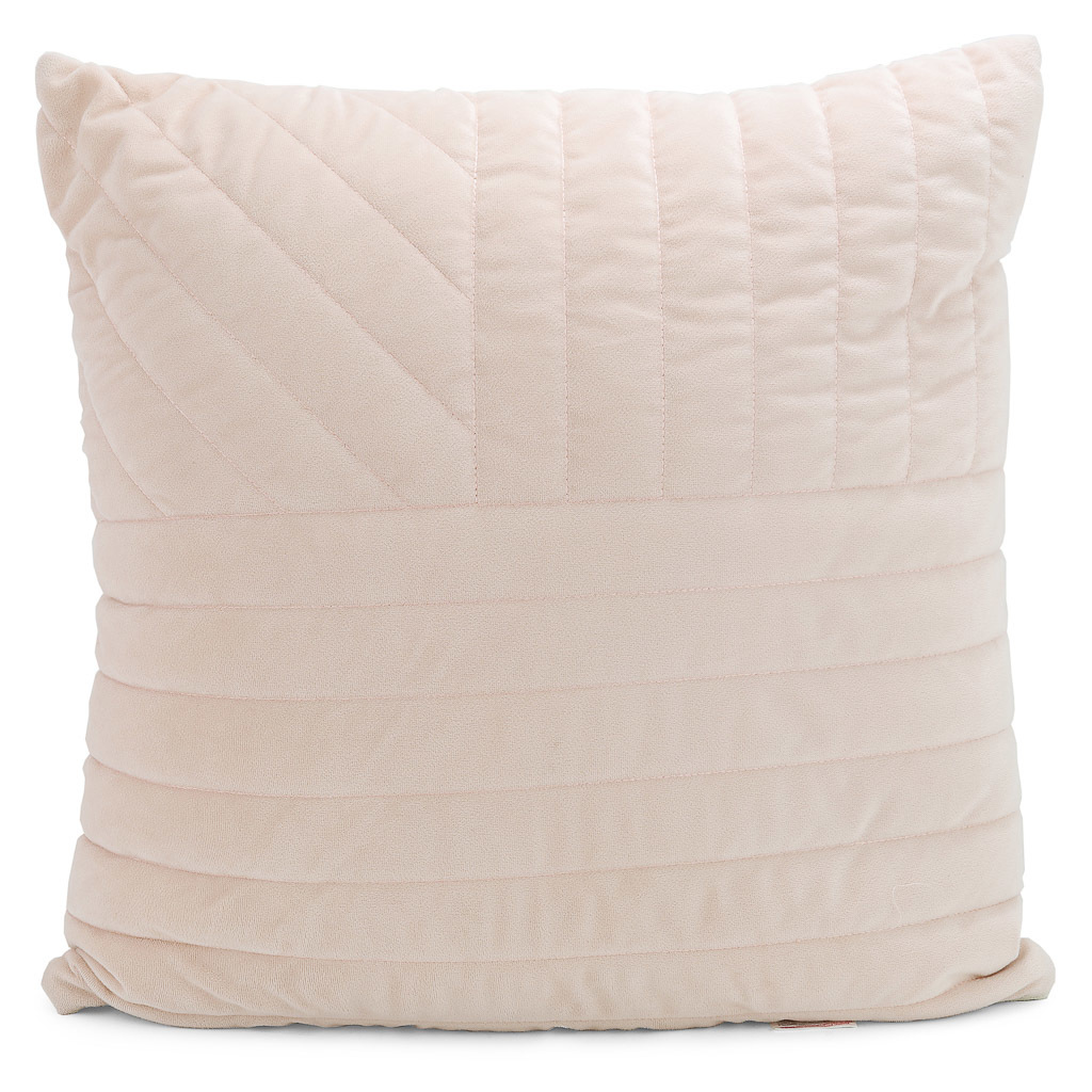 Pale pink pillow with decorative stitching.