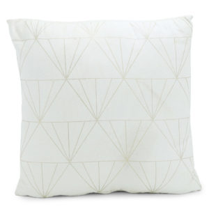 White with gold triangle patterned pillow.