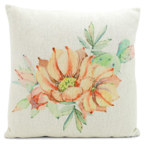 Cream cushion with pink floral design.