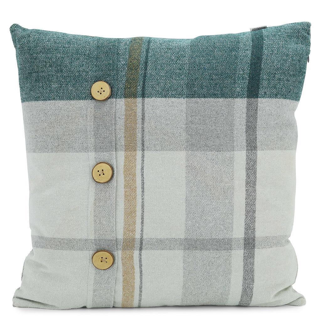 Green and grey flannel design woolen cushion.