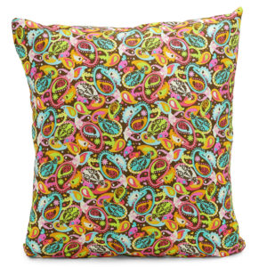 Cushion with a pink, blue and yellow floral design.