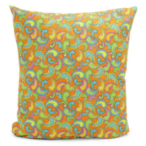 Cushion with a multicoloured paisley design. Green, orange, blue and yellow.