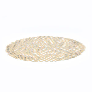 Decorative Gold Vinyl Placemat.  Add accents of colour and elegance to your party tables with our Decorative Gold Placemat.  This placemat is made from die cut vinyl plastic and has a shiny gold finish on the front. It measures 37cm in diameter.  With a chrysanthemum looking floral cut design, this placemat will add sparkle to the centre of your party tables.  Stunning when added to table centres as the base of a centrepiece. Decorate food buffets or grazing tables with these at the base of platters or set an elegant guest table with one of these placemats underneath each guest's place setting.
